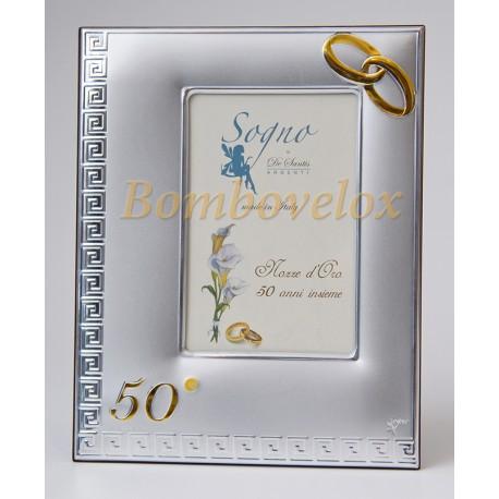Portafoto In Argento Con Retro Legno 50 Anni Di Matrimonio Astucciato